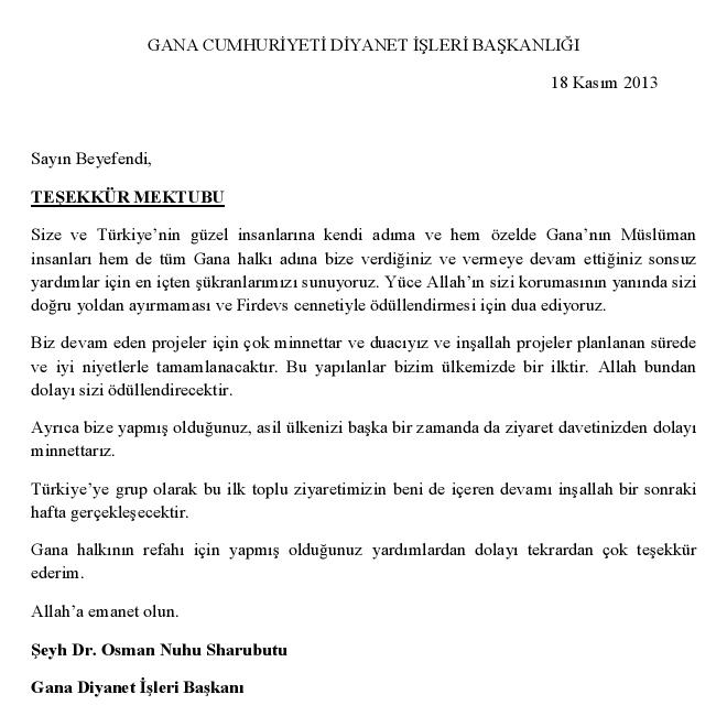 Gana Diyanet İşleri Başkanı teşekkür mektubu - DUYURULAR - Gana Dostuk ve Yardımlaşma Derneği